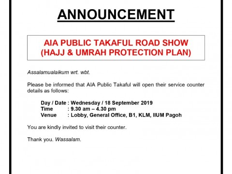 AIA Public Takaful Road Show (Hajj & Umrah Protection Plan
