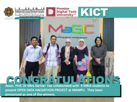Congratulations to Assoc. Prof. Dr. Mira Kartiwi and her MBIA students' team for winning the Open Data Hackathon