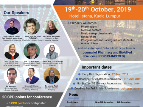 International Conference on Pharmaceutical Research and Pharmacy Practice cum 14th IIUM-MPS Pharmacy Scientific Conference (ICPRP 2019)