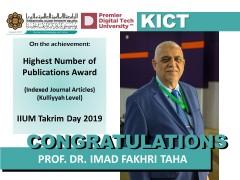 Congratulations to  Prof. Dr. Imad Fakhri Taha