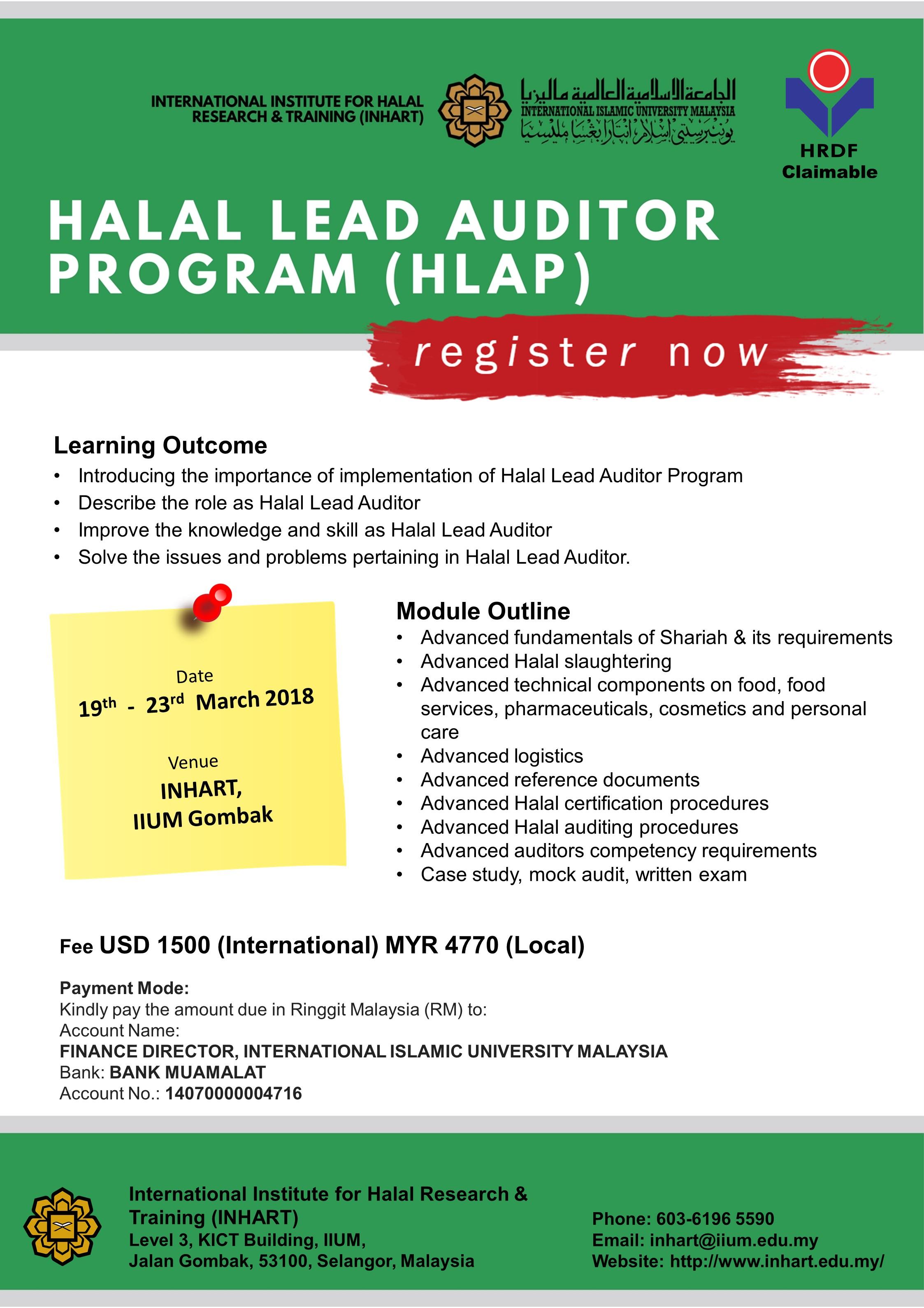 Halal Lead Auditor Program (HLAP)