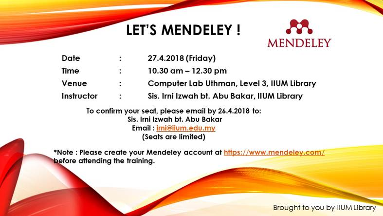 Mendeley : Hands On Session at IIUM Library