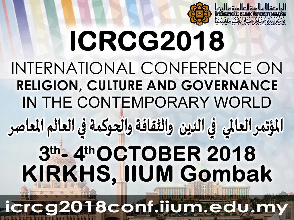 ICRCG2018 International Conference on Religion, Culture and Governance In The Contemporary World