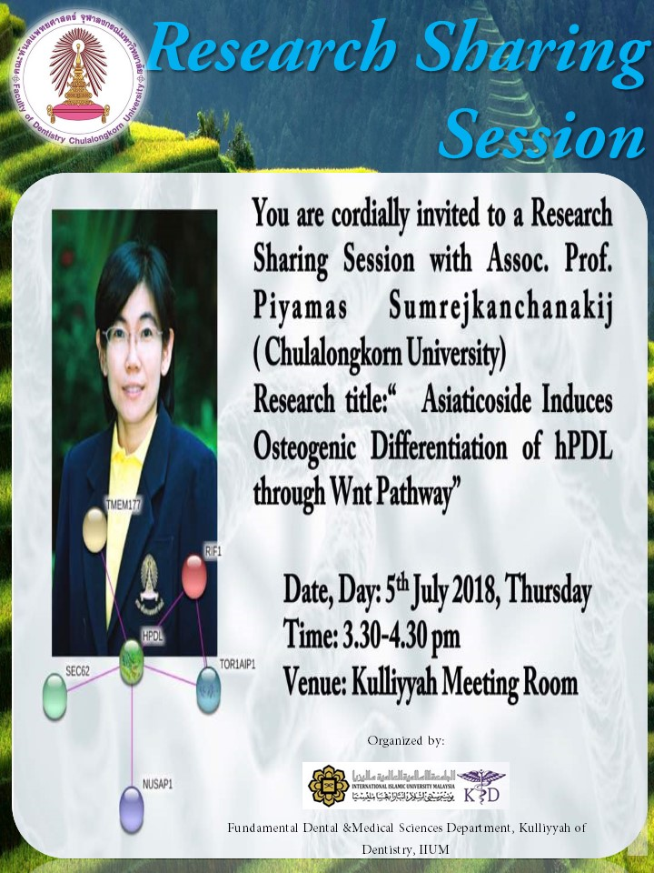 Research Sharing Session with Assoc Prof Piyamas Sumrejkanchanakij (Chulalongkorn University)