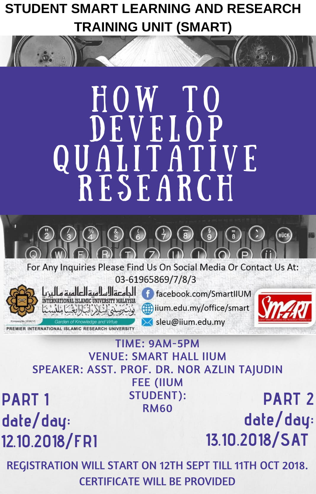 WORKSHOP : HOW TO DEVELOP QUALITATIVE RESEARCH