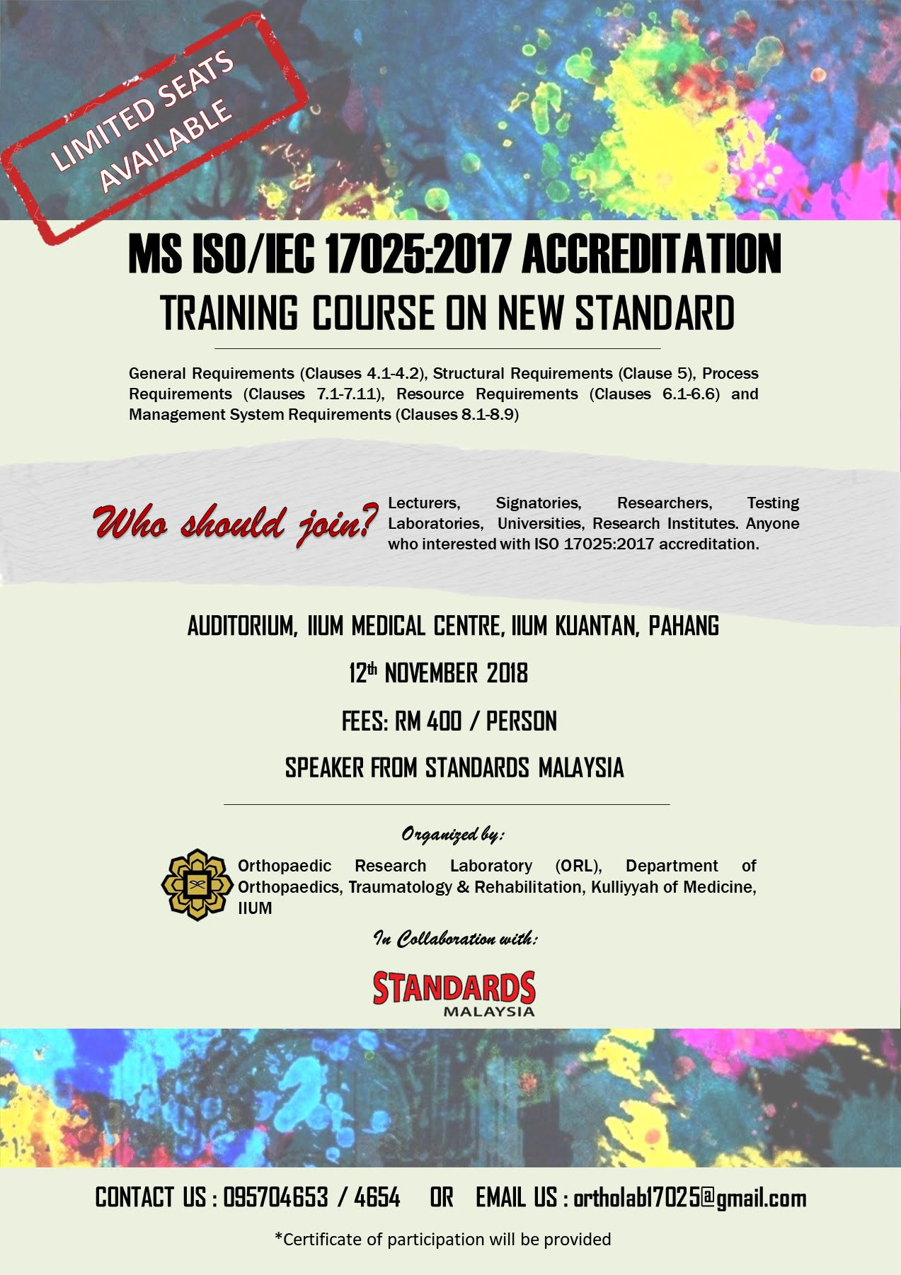 "Invitation to ""MS ISO/IEC 17025:2017 ACCREDITATION; TRAINING COURSE ON NEW STANDARD"""