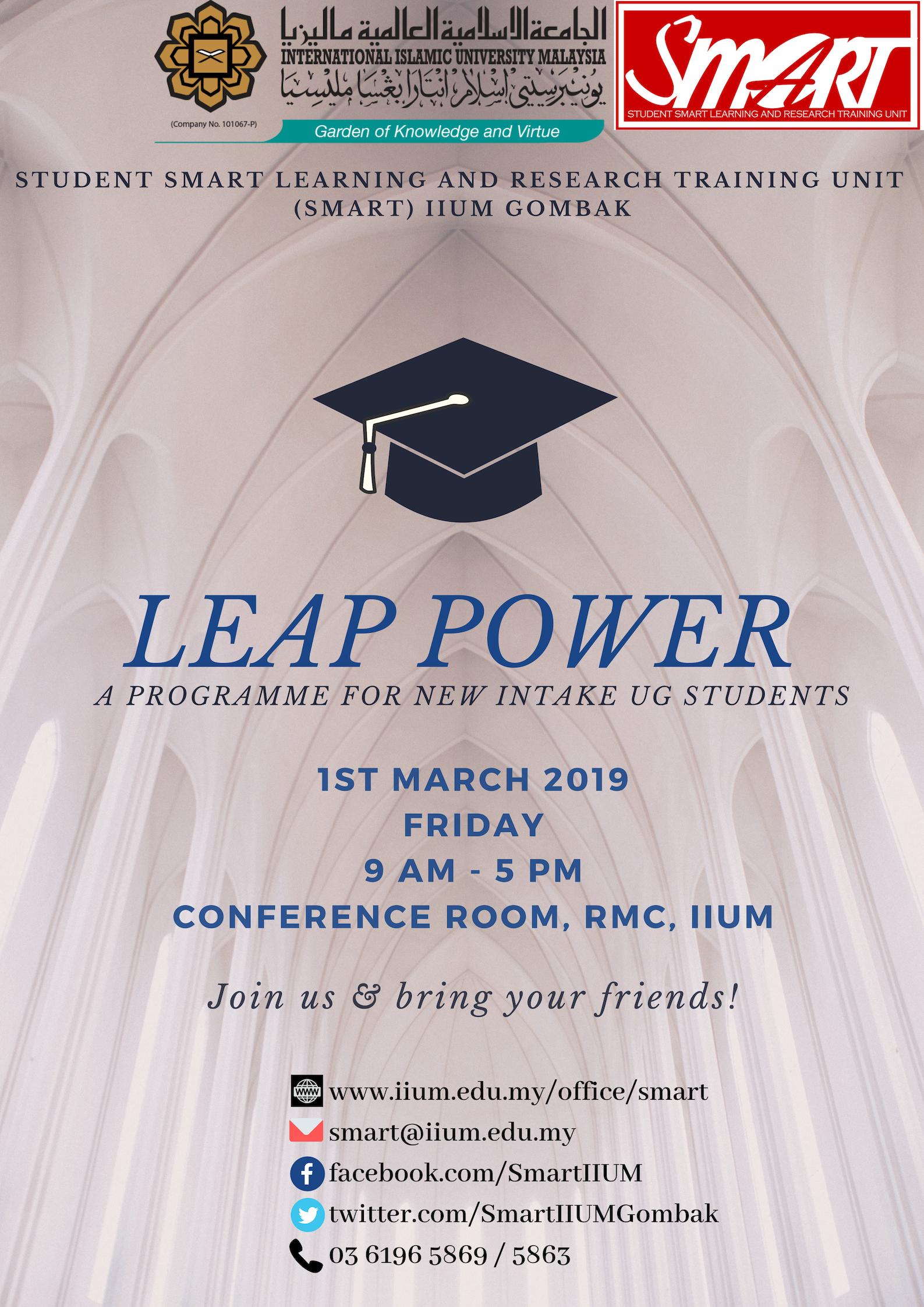 LEAP POWER FOR UG INTAKE, SEM 2 2018/2019