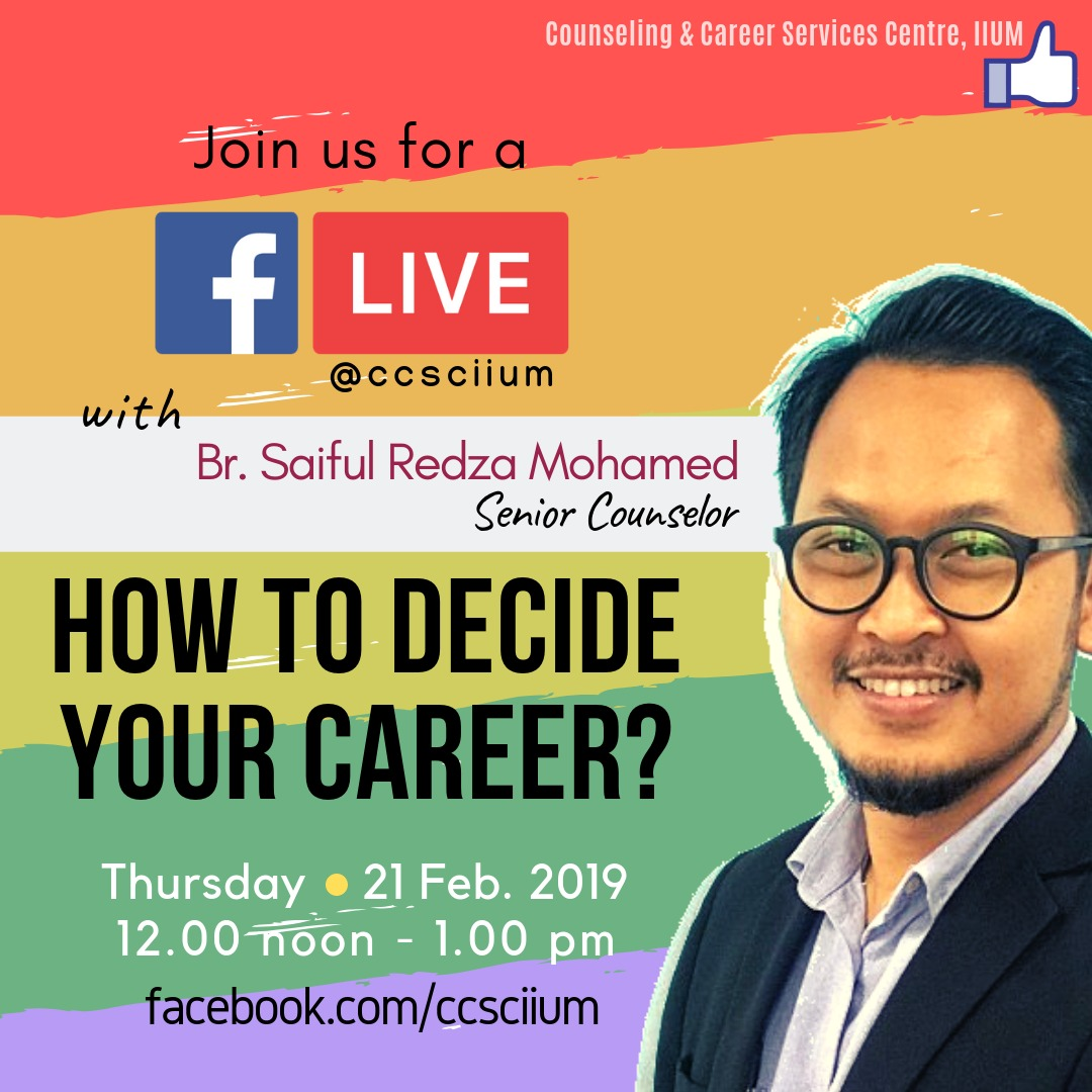 FB LIVE WITH COUNSELOR : HOW TO DECIDE YOUR CAREER