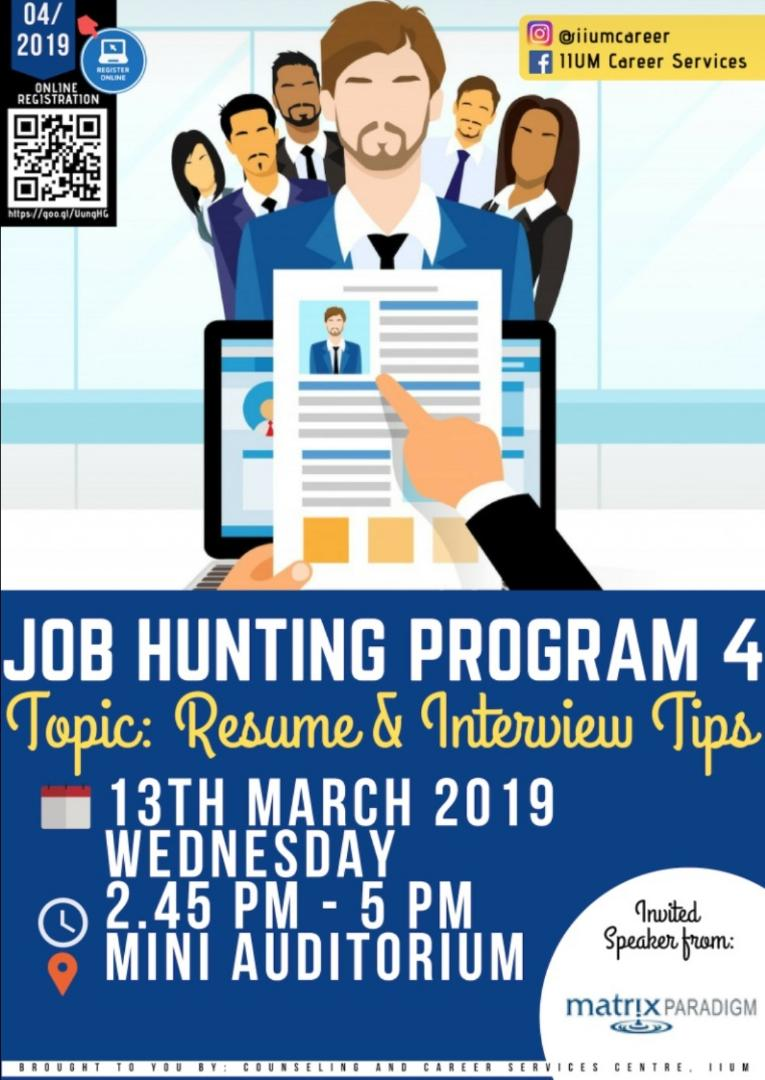 Job Hunting Program 4 : Resume and Interview Tips!