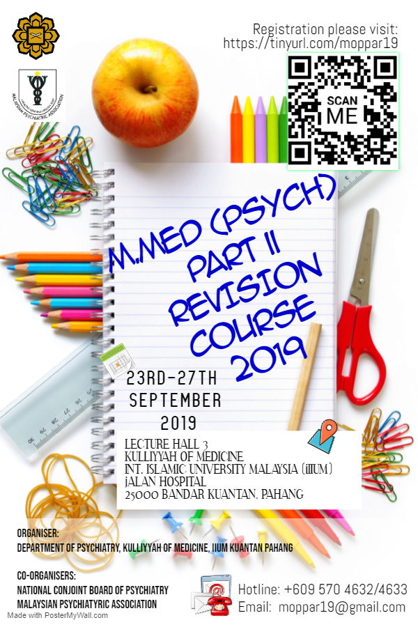 MASTER OF MEDICINE (PSYCHIATRY) PART II REVISION COURSE 2019 (MOPPAR19)