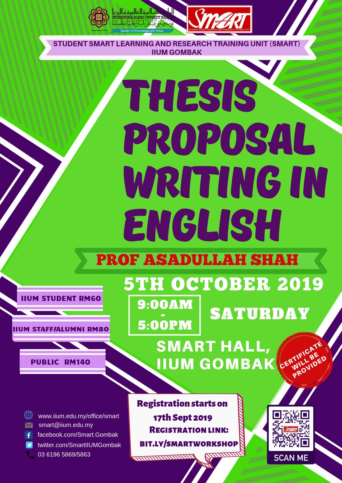 SEM 1, 19/20 - WORKSHOP - THESIS PROPOSAL WRITING IN ENGLISH