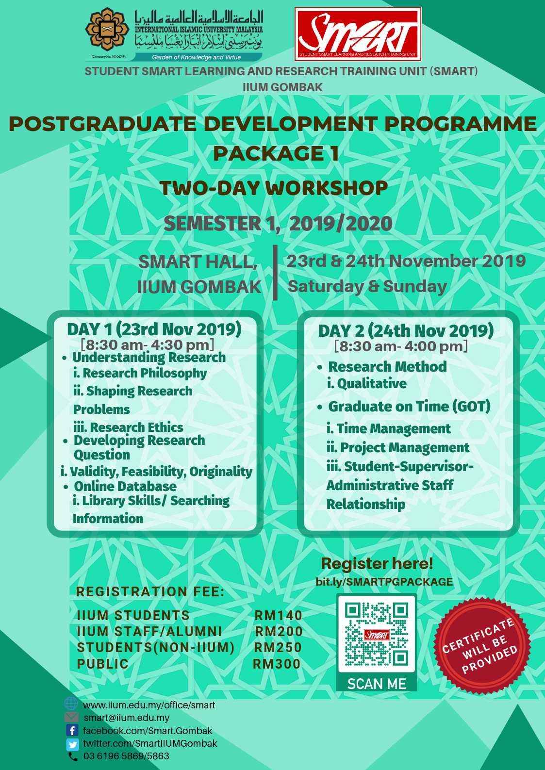 WORKSHOP : POSTGRADUATE DEVELOPMENT PROGRAMME PACKAGE 1