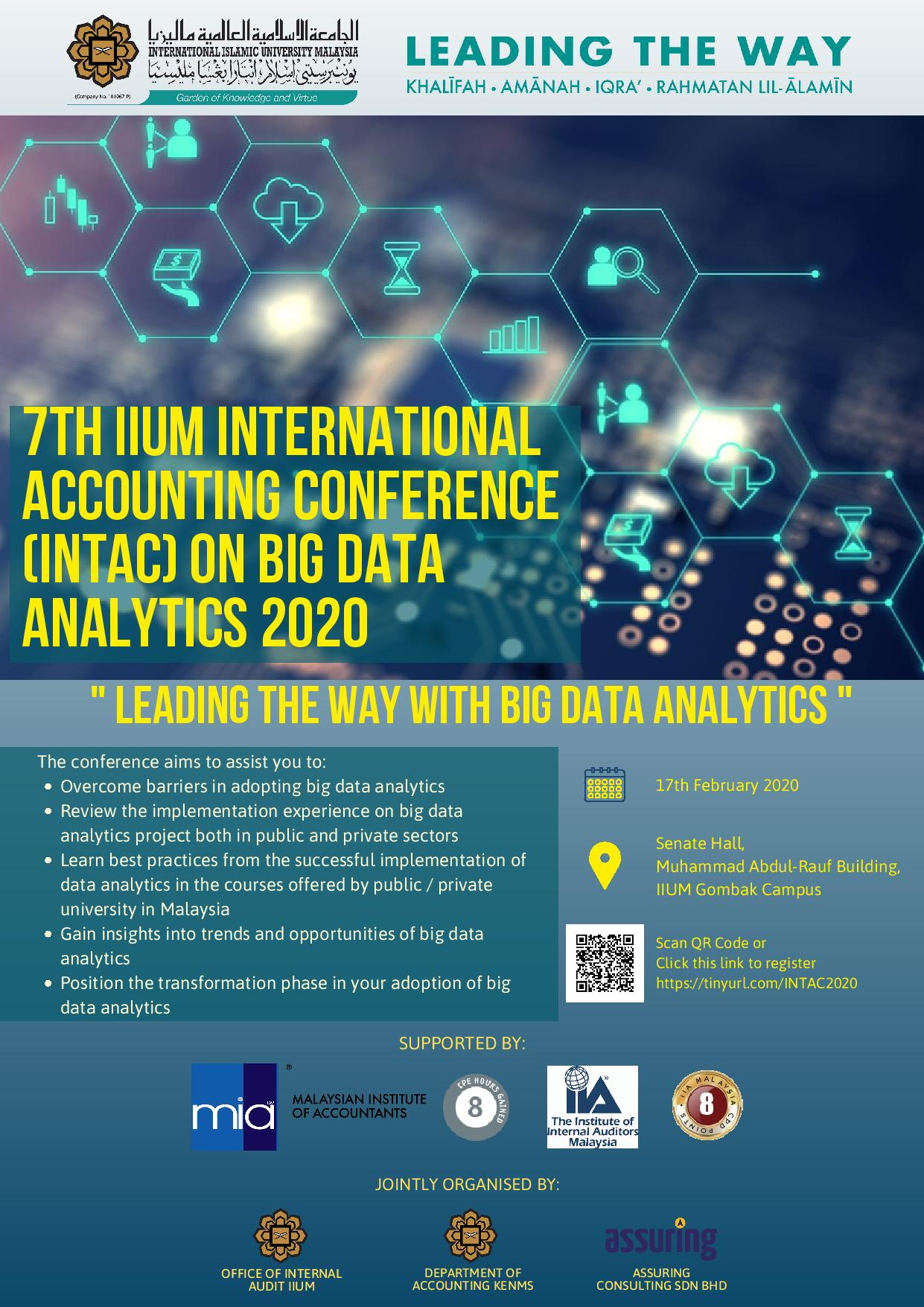 IIUM INTERNATIONAL ACCOUNTING CONFERENCE ON BIG DATA ANALYTICS (INTAC 2020): LEADING THE WAY WITH BIG DATA ANALYTICS