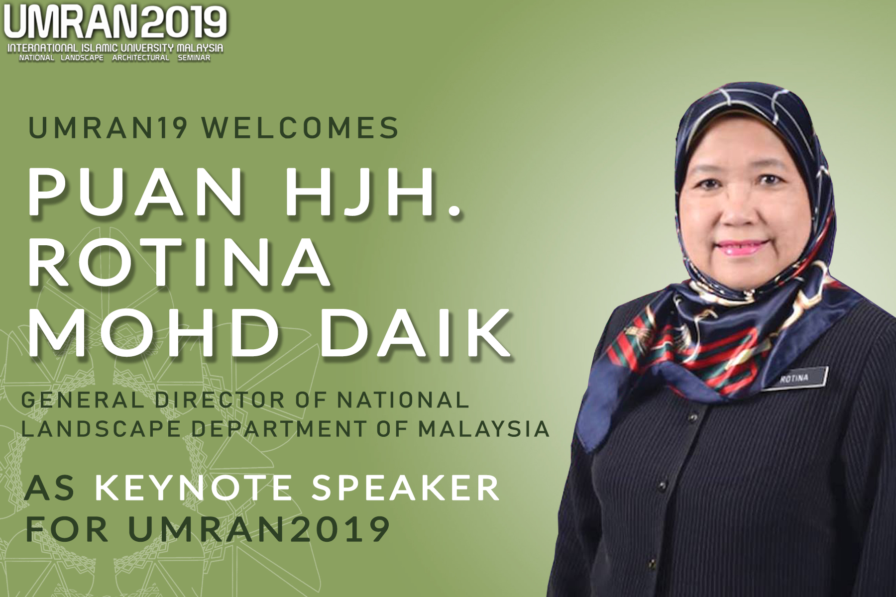 Keynote Speaker for UMRAN 2019