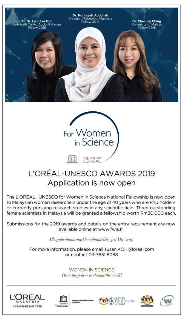 Deadline 31 May, 2019), L'ORÉAL-UNESCO FOR WOMEN IN SCIENCE