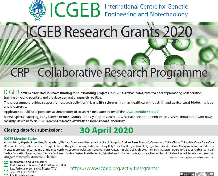 APPLICATION FOR COLLABORATIVE RESEARCH PROGRAMME (CRP) , INTERNATIONAL CENTRE FOR GENETIC ENGINEERING AND BIOTECHNOLOGY (ICGEB) RESEARCH GRANTS 2020